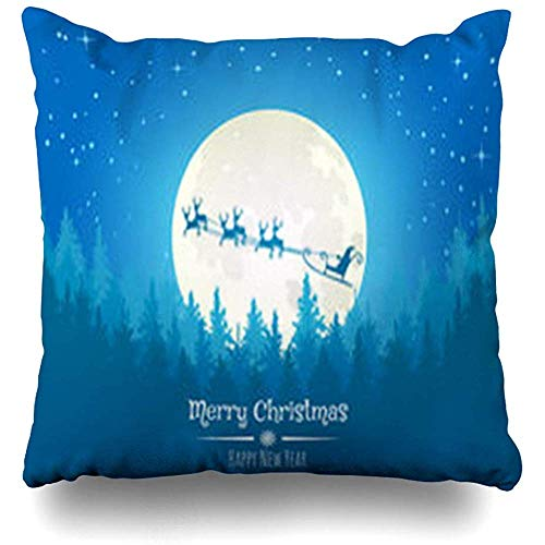 Throw Pillow Covers Forest Blue Moon Christmas Santa Deers Flying Scene Holidays Celebration Claus Dark December Flat Pillowcase Square Size 18 x 18 Inches Decor Cushion Home Cases
