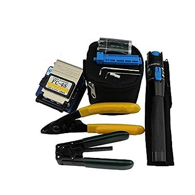 Zoostliss Fiber Optic Tool 5 In 1 FTTH Splice Fiber Optic Tool Kits Fibre Stripper FC-6S Fiber Cleaver Visual Fault Locator