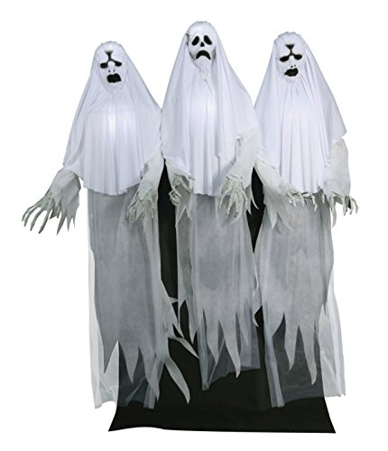Scary Spooky Haunted House Prop Animated Ghost Trio Yard Halloween Decor