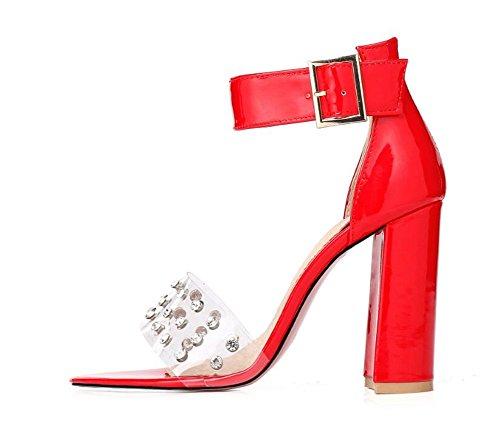 Sandales 42 Transparents Talons Hauts Boucle 10cm été fête Shopping Rivets 34 xie Mesdames 5nxBqwp447