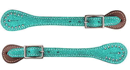 Showman YOUTH Kids Girls TEAL Glitter Overlay Barrel Racing Studded Leather Spur Straps ()