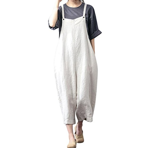 3 Dungarees (Clearance Wide Leg Jumpsuit Cotton Cargo Pants Bib Overalls Dungaree Trousers Romper Jushye (S, White))