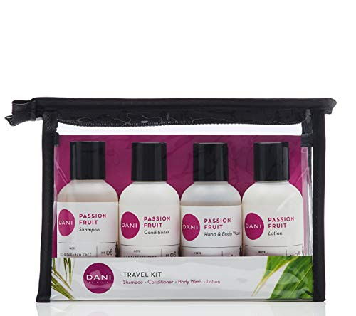 - DANI Naturals Travel Size Toiletries Kit - Shampoo, Conditioner, Hand and Body Wash and Lotion - Passion Fruit Scented, Vegan & Cruelty Free