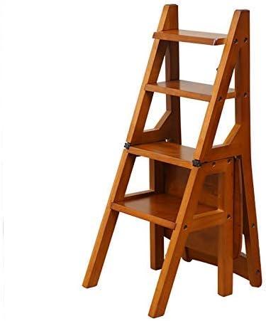 Escalera de escalera plegable con 4 peldaños, silla de escalera Taburete Silla de comedor de madera Escaleras de mano para adultos Niños, herramienta de jardín para el hogar Servicio pesado Máx. 150kg: