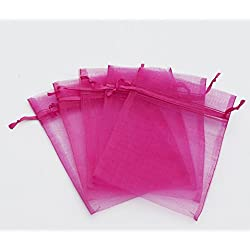 100 pcs 5x7 (13x18cm) Organza Bags Wedding Favor Bags Party Gift Bags Candy Bag Jewelry Pouch Drawstring Bag (Fuchsia - FB062)