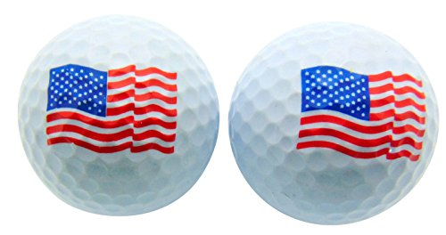 Set of 2 Patriotic USA American Flag Independence Golf Balls Gift Pack