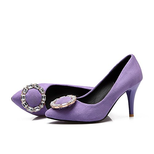 AllhqFashion Womens Pointed Closed Toe High Heels Solid Pull On Pumps-Shoes, Purple, 37