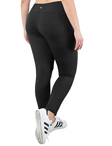 Yoga Reflex Women's Plus Size Active Yoga Running Workout Legging Pants (XL-4XL) , Black , XXX-Large