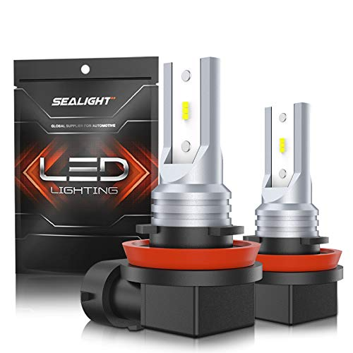 SEALIGHT H11 LED Fog Lights 4800lm, H16 H8 H9 LED Fog Bulbs Lamps High Power 12 CSP Led Chips 6000K White