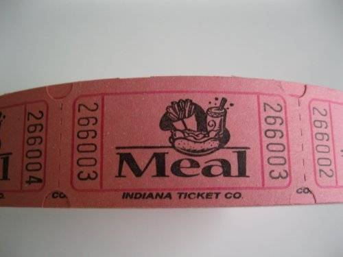 2000 Pink Meal Single Roll Consecutively Numbered Raffle Tickets by 50/50 Raffle Tickets