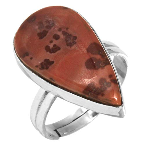 Solid 925 Sterling Silver Jewelry Natural Coffee Bean Jasper Gemstone Adjustable Ring Size - Silver Jasper Sterling Adjustable Ring