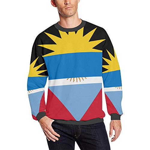 Antigua Barbuda Flag Men's Pullover Fuzzy Sweatshirt ()