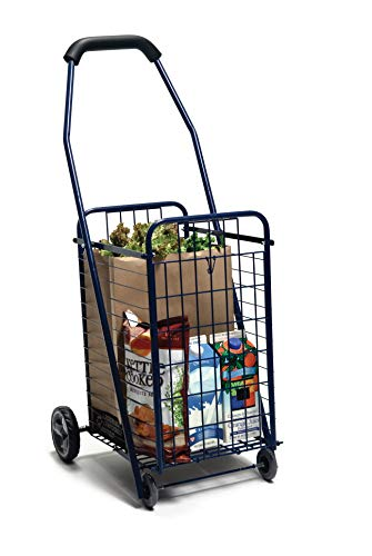 Lumex Folding Utility Cart with Wheels for Groceries & Shopping, Blue