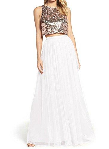 Women Floor Length A-line Tulle Skirt Bridal Bridesmaids Wedding Party Long High Waisted Tutu White]()