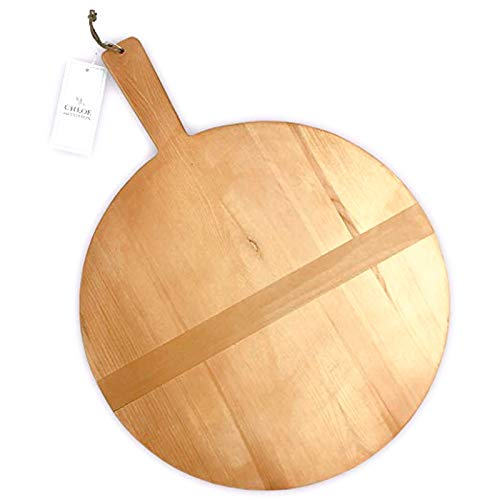 Chloe and Cotton Large Round Pine Wood Bread Board 17 inch diameter | Kitchen decorative countertop hanging wooden tray, serving, charcuterie, cheese board (Tray Wooden Serving Circular)