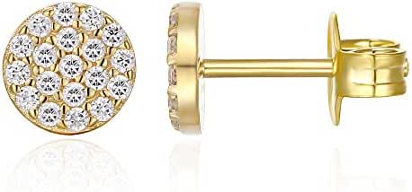 PAVOI 14K GOLD Plated Sterling Silver AAAAA CZ Simulated Diamond Mini Disc Pave Earrings Circle Stud Earrings