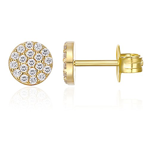 PAVOI 14K GOLD Plated Sterling Silver AAAAA CZ Simulated Diamond Minidisc Pave Earrings Circle Stud Earrings (Yellow) - 18k Circle Earrings