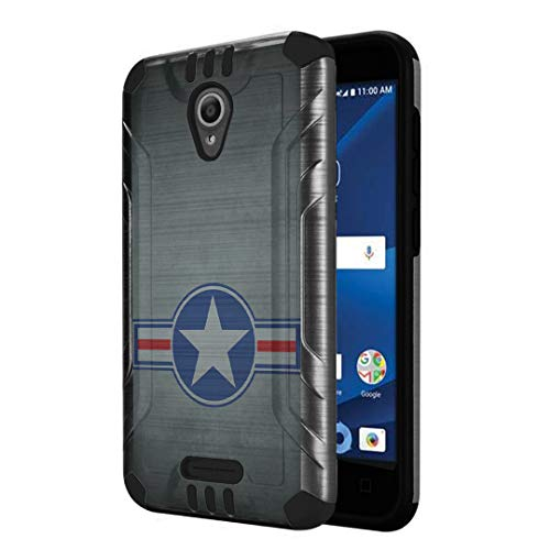Capsule Case Compatible with Alcatel IdealXcite, Alcatel Verso, Alcatel CameoX, Alcatel Raven LTE [Dual Layer Slim Defender Armor Combat Case Dark Metal Gray] - (Military National Aircraft)