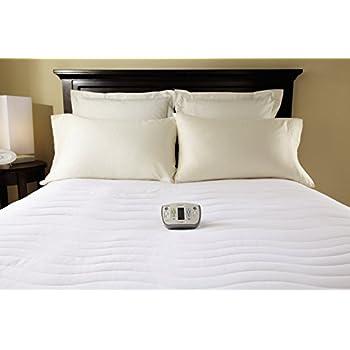 Sunbeam Heated Mattress Pad | Therapeutic with Zoned Heat, 10 Heat Settingss , White , California King - MSU7RCK-C000-15C44