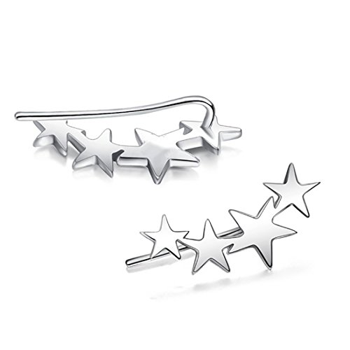 GDDX Sterling Silver Mix Linked Stars Sweep up Ear Pin Crawler Cuff Wrap Climber (Falling Star Earrings)