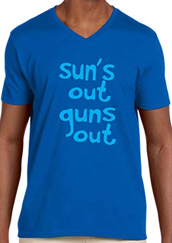 Trendy USA 203 - Men's V-Neck T-Shirt Sun's Out Guns Out 22 Jump Street Funny 2XL Royal Blue