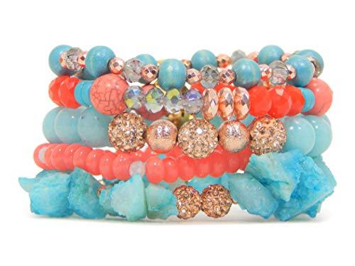 (Erimish 5 Piece Bracelet Stack Coral/Turquoise)