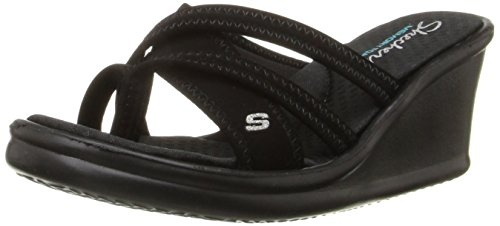 Skechers Cali Women's Rumblers - Young At Heart Wedge Sandal, Black, 9 M US