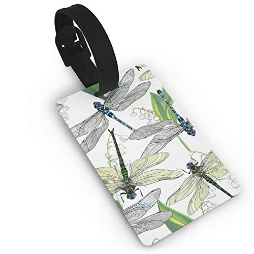 Diemeouk Luggage Tags for Suitcases Dragonflies Green Insect