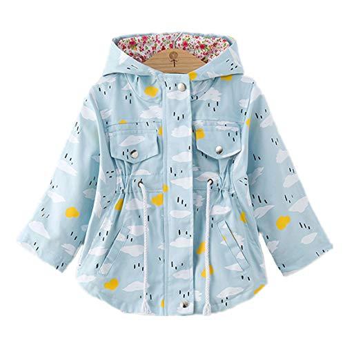 (WINZIK Little Baby Girls Kids Outfits Spring Autumn Polka Dot Pattern Hooded Windbreaker Jacket Casual Outerwear Coat (18-24 Months/S, Cloud 1#))