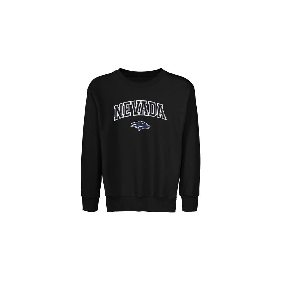 Nevada Wolf Pack Youth Black Logo Arch Applique Crew Neck Fleece Sweatshirt