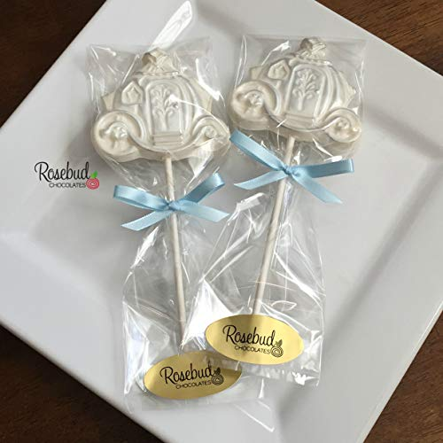 12 Cinderella COACH White Chocolate Silver Dusted Lollipops Candy Party FAVORS (One Dozen) Wedding -