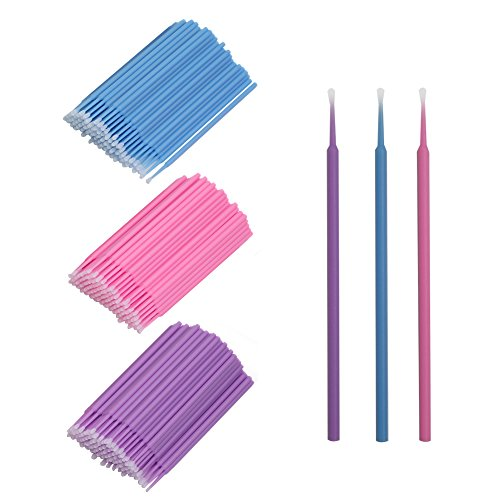 Applicator Brushes, Disposable Eyelash Extension Brushes for Makeup, Oral and Dental (Purple+Blue+Pink) ()