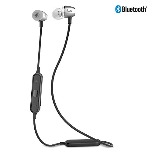 iLuv Aluminum Coated Luxury Wireless Bluetooth in-Ear Earphones with Noise Isolation, Ergonomic Angled Ear Tip, Hands-Free, Voice Command, Sweatproof, Rechargeable Battery and Remote (2nd Generation)