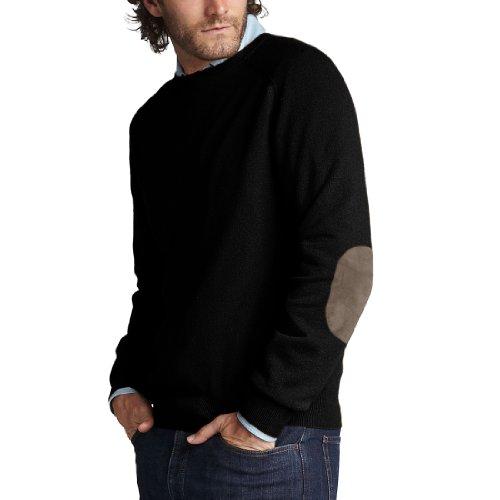 Parisbonbon Men's 100% Cashmere Elbow Pad Sweater Color B...