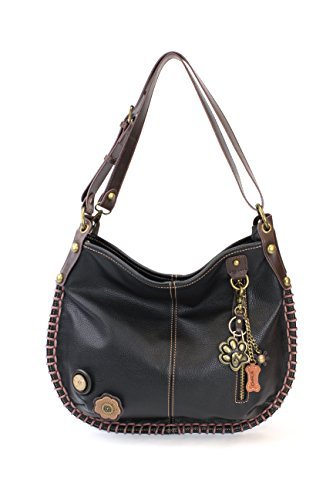 CHALA Crossbody Handbag, Hobo Style, Casual, Soft, Large Bag Shoulder or Crossbody - Black (Metal Paw Print Black)