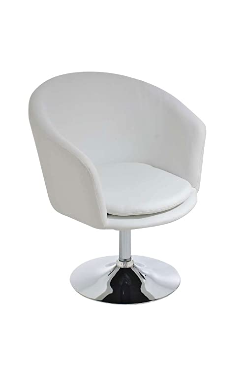 CLP Silla Lounge Evan en Cuero Sintético I Silla tipo Butaca Giratoria I Sillón-Poltrona con Respaldo I Color: Blanco