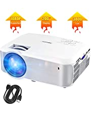 Video Projector, TOPVISION Full HD 1080P Supported LED Projector with 3800Lux, 60,000 Hrs Home Movie Projector for Indoor/Outdoor with Speakers, Compatible with Fire TV Stick, PS4, HDMI, VGA, AV, USB