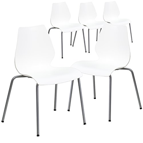 (Flash Furniture 5 Pk. HERCULES Series 770 lb. Capacity White Stack Chair with Lumbar Support and Silver Frame)