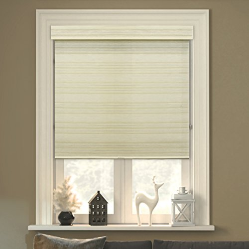 Chicology Free-Stop Cordless Roller Shades, No Tug Privacy Window Blind, Cabana Sand (Privacy & Natural Woven) – 31″W X 72″H
