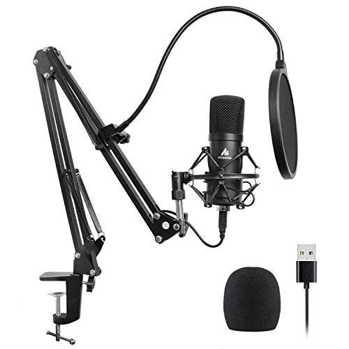 (USB Microphone Kit 192KHZ/24BIT Plug & Play MAONO AU-A04 USB Computer Cardioid Mic Podcast Condenser Microphone with Professional Sound Chipset for PC Karaoke, YouTube, Gaming Recording)