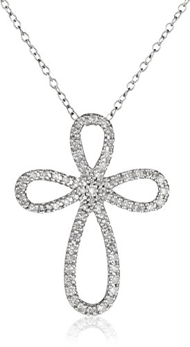"""Sterling Silver Diamond Angel Cross Pendant Necklace (1/4 cttw, I-J Color, I2-I3 Clarity), 18"""""""
