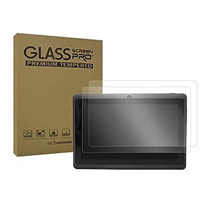 Transwon 2-Pack Scratch Resistant Tempered Glass Screen Protector for Yuntab Y88 Q88H, iRULU eXpro 3 Tablet-X37, Contixo LA703, Vuru A33, Chromo Inc CI2542 7 Inch, Dragon Touch Y88X Plus, NPOLE N718
