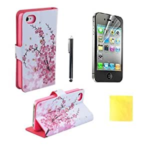 Bloutina (TRAIT)4IN1 Pink Flower PU Leather Wallet Cases Protective Skin for iphone4 4S 4G Flip Folio Case Stand Holder...