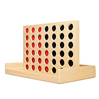 GrowUpSmart Four in A Row Game - Made from Wood - Connect Four Checkers to Win