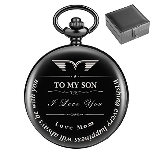 Pocket Watch to Son Gift from Mom to Son Engraved 'to My Son Love Mom' Perfect Gift from a Mother to Son for College Graduation 2018 / Birthday - Graduation Present for Son