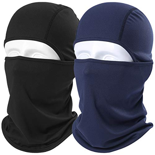 WTACTFUL 2 Pack - Balaclava UV Protection Windproof Breathable Face Mask - Cycling Hiking Motorcycle Riding Racing Hunting Climbing Camping Tactical Ski Snowboard Mask for Men Women Black&Navy Blue (Diamond Tactical Full Face Protection Ghost Balaclava Mask)