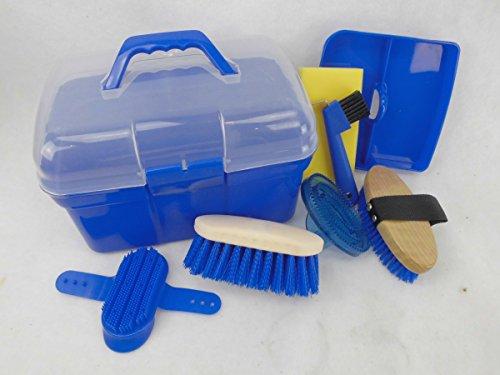 Kinder Pferdeputzkiste Pferdeputzkasten Putzkiste Putzbox gefüllt mit Putzzeug, Farbe:blau