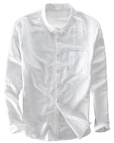utcoco Mens Original Collared Front Button Slim Long Sleeve Linen Shirts One Pocket