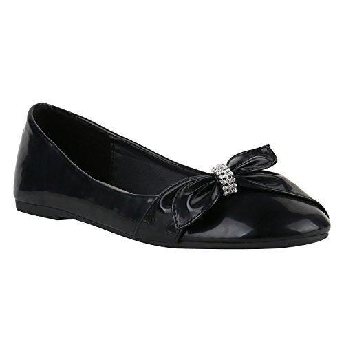 Klassische Damen Ballerinas Ballerina Schuhe Gummizug Basic Flats Slipper Leder-Optik Übergrößen Gr. 41-44 Flandell Black Lack