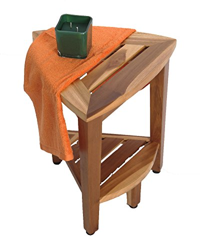 New- 18'' EcoDecors EarthyTeak™-Patent Pending- FULLY ASSEMBLED Compact Teak Corner Shower Bench With Shelf- Shower Sitting, Storage, Shaving Foot Rest by EcoDecors (Image #4)